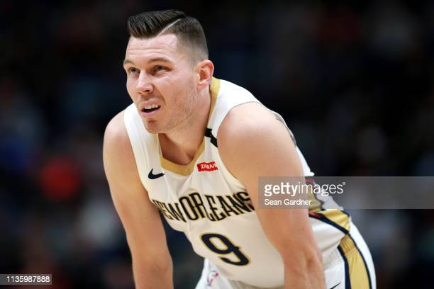 Dairis Bertans of the New Orleans Pelicans stand on the court during the first half of a NBA game at the Smoothie King Center on March 12 2019 in New...