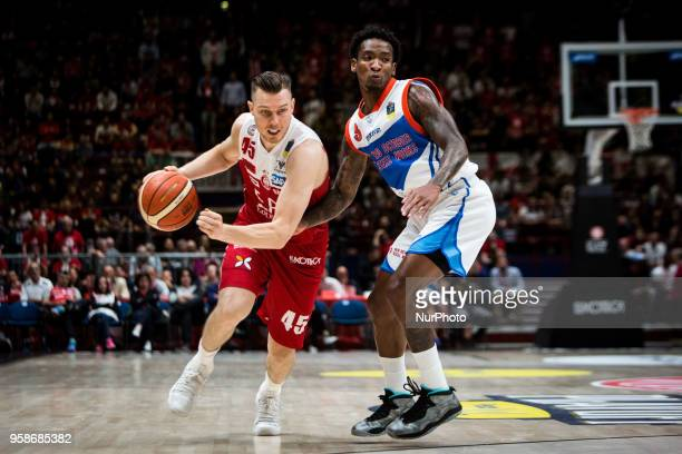 Dairis Bertans shoots a layup during a Playoff basketball game of Poste Mobile Lega Basket A between EA7 Emporio Armani Milano vs Red October Cantu'...