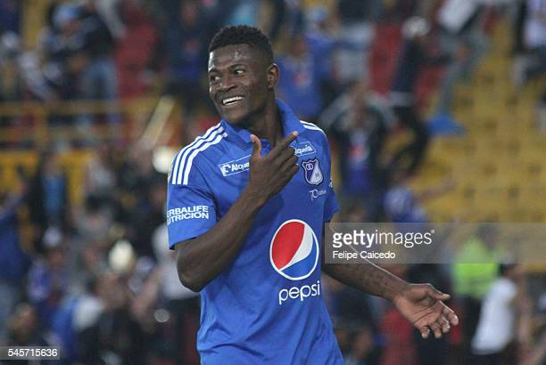 Dairon Asprilla of Millonarios celebrates after scoring the first goal of his team during a match between Millonarios and Santa Fe as part of second...