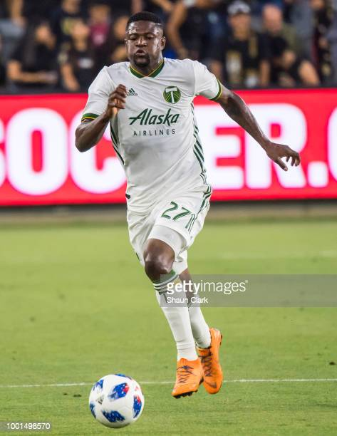 Adama Diomande of Los Angeles FC celebrates the win during the US Open Cup Quarterfinal between Los Angeles FC and Portland Timbers at the Banc of...