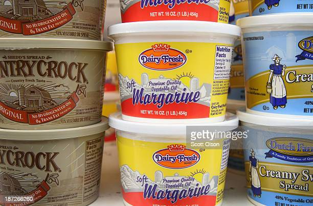 Dairy Fresh margarine which contains trans fat is displayed at a grocery store on November 7 2013 in Chicago Illinois Although most margarine sticks...