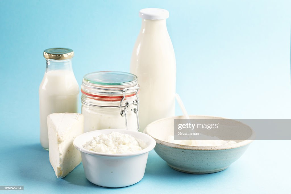 dairy products cheese yoghurt milk butter : Stock Photo