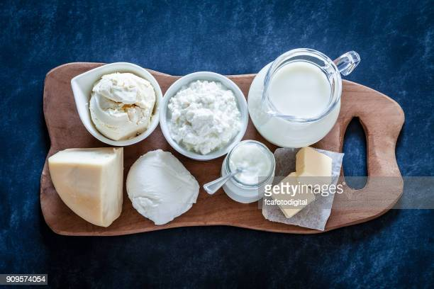 dairy products shot from above - mozzarella stock photos and pictures