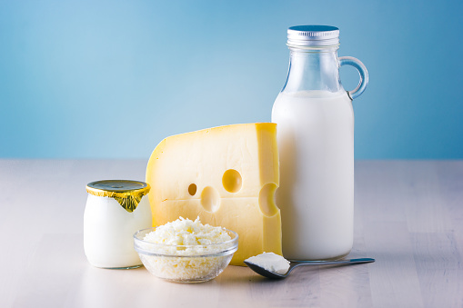 Dairy products such as milk, cheese, egg, yogurt and butter. 911727186
