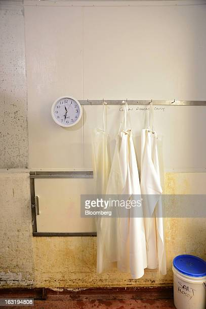 Dairy workers' aprons hang on hooks in a processing room at the Tasmanian Heritage cheese plant operated by Kirin Holdings Co's Lion unit in Burnie...