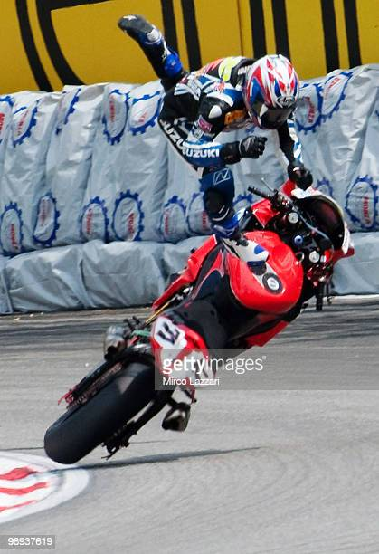 Daisaku Sakai of Japan and Yoshimura Suzuki Racing Team crashed out during the Race One of the Supersbike World Championship round five on May 9 2010...
