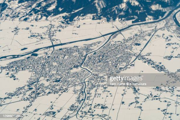 daisen city in akita prefecture of japan aerial view from airplane - 鳥取県 無人 ストックフォトと画像