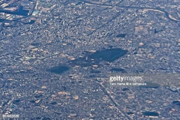 Daisen Kofun, burial mound in Sakai city in Osaka prefecture in Japan daytime aerial view from airplane