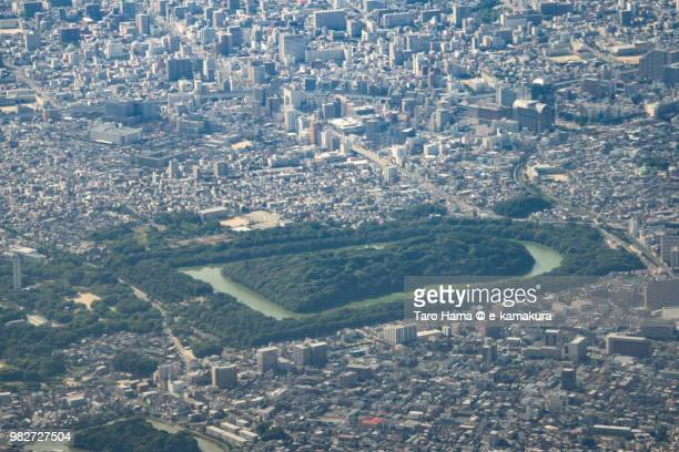 daisen kofun (burial mound) in sakai city in osaka prefecture in japan daytime aerial view from airplane - tottori prefecture stock photos and pictures