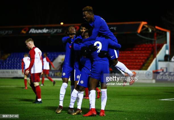 Daishawan Redan of Chelsea celebrates with his teammates after scoring his sides fifth goal during the FA Youth Cup Fourth Round match between...
