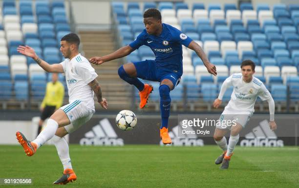 Daishawn Redan controls the ball during the UEFA Youth League Quarterfinal between Real Madrid and Chelsea at estadio Alfredo Di Stefano on March 14...