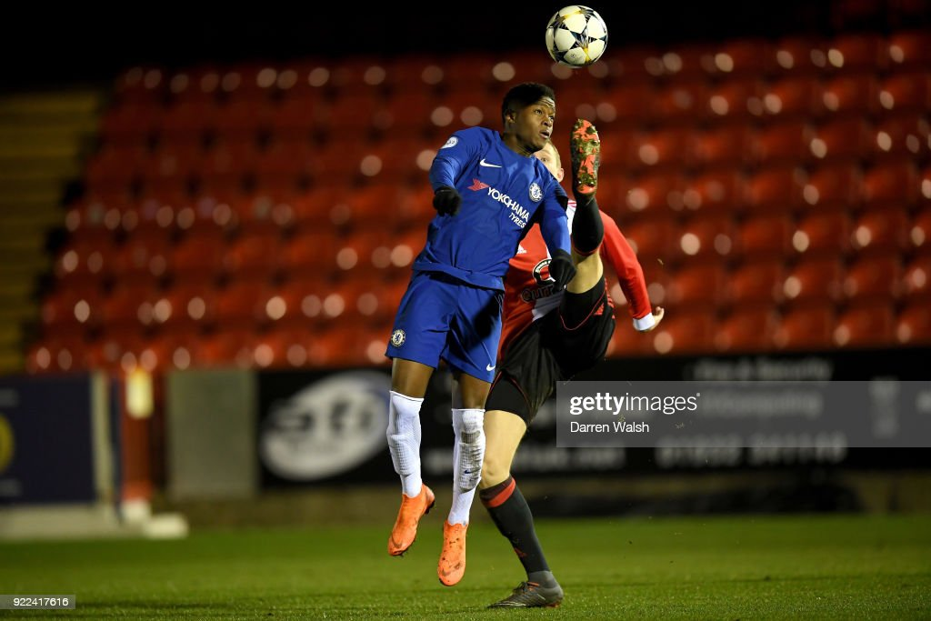 Daishawn Redan of Chelsea and Wouter Burger of Feyenoord during the UEFA Youth League Round of 16 match between Chelsea FC and Feyenoord at EBB Stadium on February 21, 2018 in Aldershot, United Kingdom.
