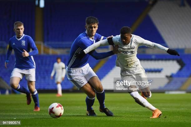 Daishawn Redan of Chelsea battles Geraldo Bajrami of Birmingham during the FA Youth Cup SemiFinal First Leg between Birmingham City v Chelsea at St...
