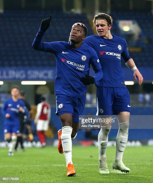 Daishawn Redan of Chelsea celebrates after scoring his sides first goal during the FA Youth Cup Final first leg match between Chelsea and Arsenal at...