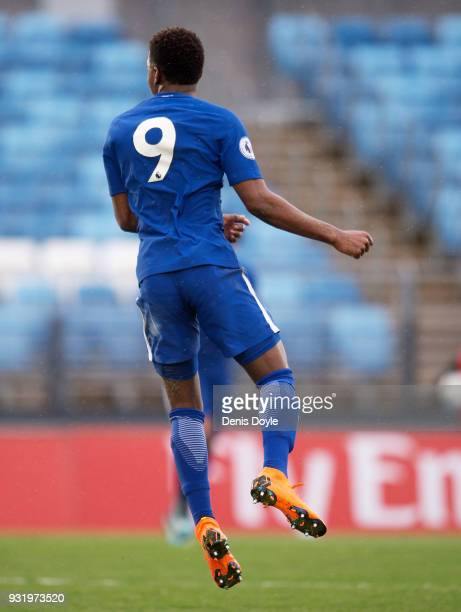 Daishawn Redan of Chelsea celebrates after scoring his teamÕs 2nd goal during the UEFA Youth League Quarterfinal between Real Madrid and Chelsea at...