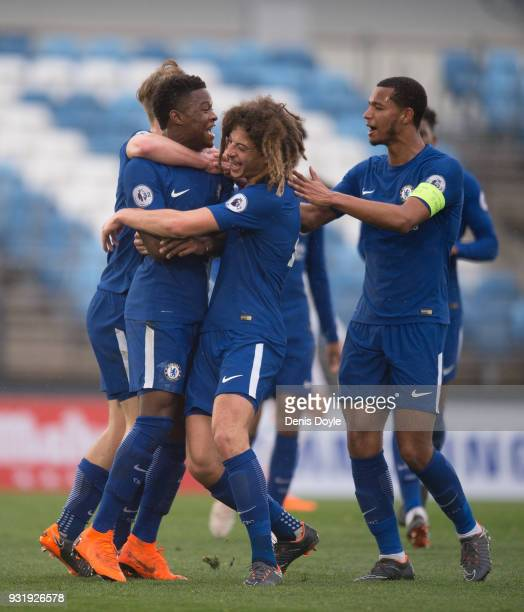 Daishawn Redan of Chelsea celebrates after scoring his team's first goal during the UEFA Youth League Quarterfinal between Real Madrid and Chelsea at...