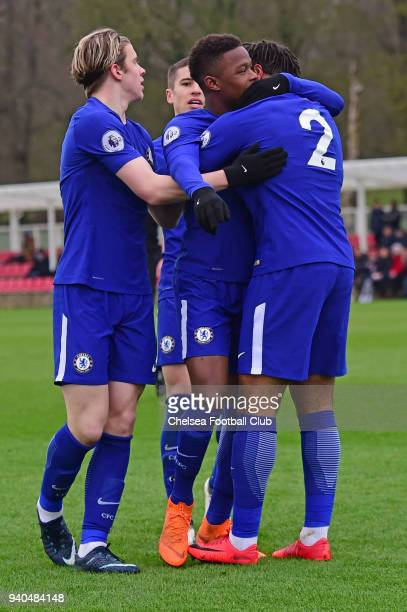 Daishawn Redan of Chelsea celebrates his first goal during the Premier League 2 match between Derby U23 and Chelsea U23 at St Georges Park on March...