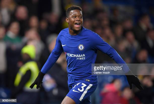 Daishawn Redan of Chelsea celebrates his goal during the Checkatrade Trophy quarter final match between Chelsea U21 and Oxford United at Stamford...