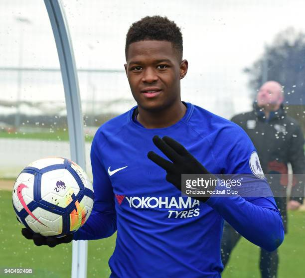 Daishawn Redan of Chelsea celebrates his hat trick with the match ball goal after the Premier League 2 match between Derby U23 and Chelsea U23 at St...