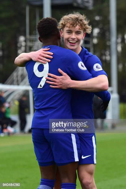 Daishawn Redan of Chelsea celebrates his second goal during the Premier League 2 match between Derby U23 and Chelsea U23 at St Georges Park on March...