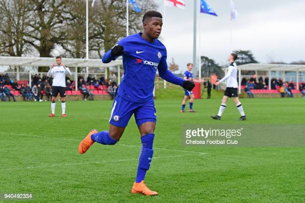 Daishawn Redan of Chelsea celebrates his third goal during the Premier League 2 match between Derby U23 and Chelsea U23 at St Georges Park on March...