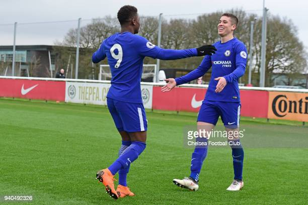Daishawn Redan of Chelsea celebrates his third goal with Harvey St Clair during the Premier League 2 match between Derby U23 and Chelsea U23 at St...