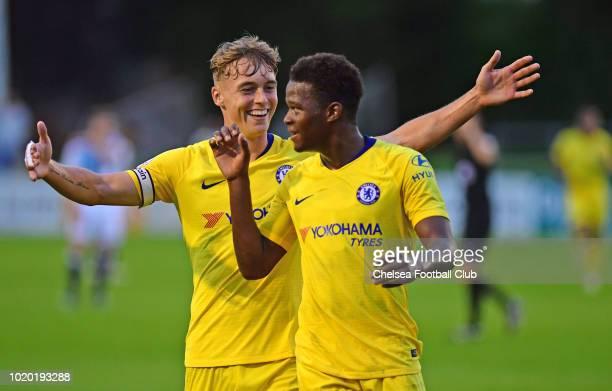 Daishawn Redan of Chelsea celebrates scoring Chelsea's second goal with Luke McCormick during the Blackburn Rovers U23 v Chelsea U23 Premier League 2...