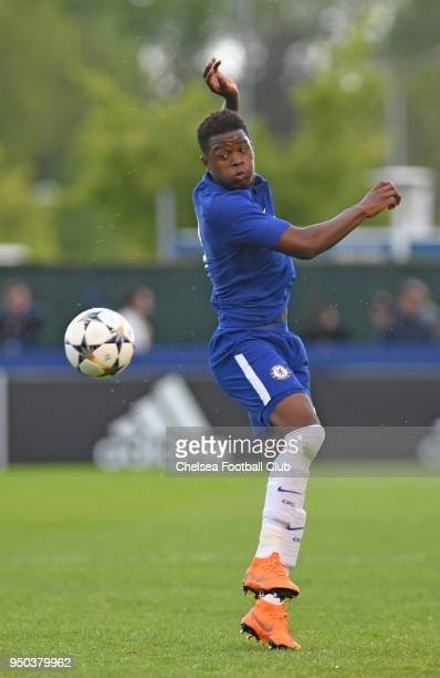 Daishawn Redan of Chelsea during the Chelsea FC v FC Barcelona UEFA Youth League Final at Colovray Sports Centre on April 23 2018 in Nyon Switzerland