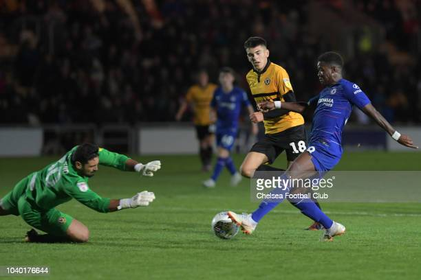 Daishawn Redan of Chelsea during the Newport County AFC v Chelsea U21 Checkatrade Trophy Match at Rodney Parade on September 25 2018 in Newport Wales