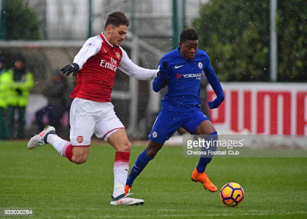 Daishawn Redan of Chelsea during the Premier League 2 between Arsenal and Chelsea U23's at London Colney on March 17 2018 in St Albans England