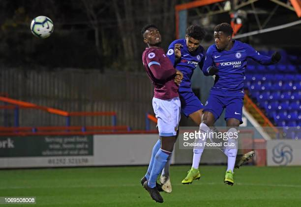 Daishawn Redan of Chelsea heads home the second goal during the Premier League 2 match between Chelsea and West Ham United at EBB Stadium on December...