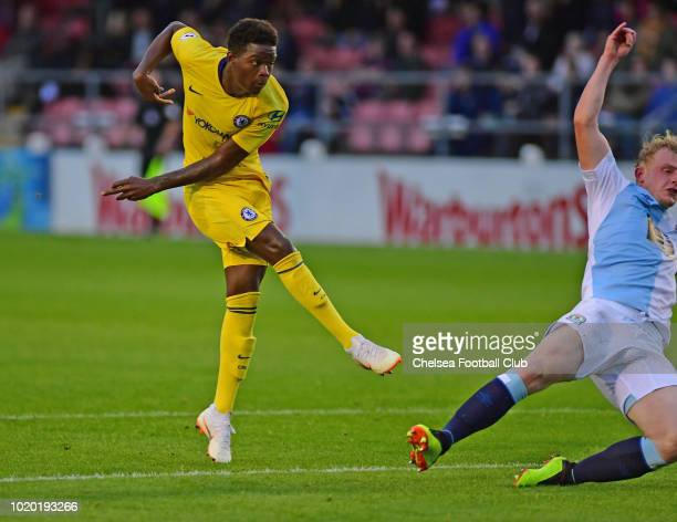 Daishawn Redan of Chelsea scores Chelsea's second goal during the Blackburn Rovers U23 v Chelsea U23 Premier League 2 match at Leyland County Ground...
