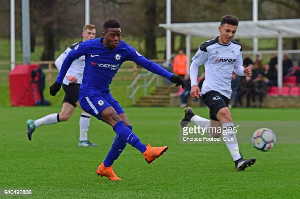 Daishawn Redan of Chelsea scores his second goal during the Premier League 2 match between Derby U23 and Chelsea U23 at St Georges Park on March 31...