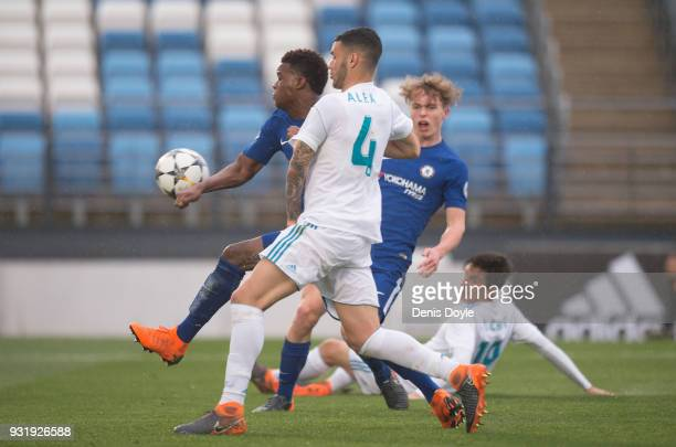 Daishawn Redan of Chelsea scores his team's first goal during the UEFA Youth League Quarterfinal between Real Madrid and Chelsea at estadio Alfredo...