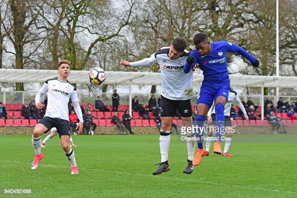 Daishawn Redan of Chelsea scores his third goal during the Premier League 2 match between Derby U23 and Chelsea U23 at St Georges Park on March 31...