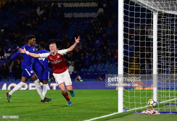 Daishawn Redan of Chelsea scores the first goal during the Chelsea v Arsenal FA Youth Cup Final First Leg at Stamford Bridge on April 27 2018 in...