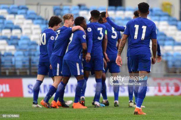 Daishawn Redan of Chelsea scores their second goal during the Real Madrid v Chelsea U19 UEFA Youth League Quarter Final match at Alfredo Di Stfano...