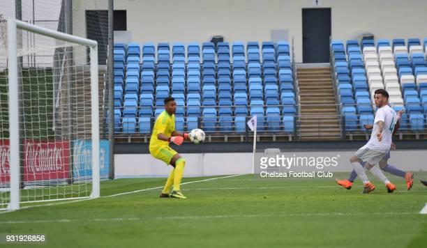 Daishawn Redan of Chelsea scores their third goalduring the Real Madrid v Chelsea U19 UEFA Youth League Quarter Final match at Alfredo Di Stfano...