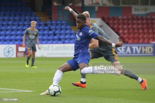 Daishawn Redan of Chelsea shoots for goal during the Chelsea v Leicester City Premier League 2 match at on September 16 2018 in Aldershot England