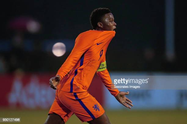 Daishawn Redan of Holland U17 celebrates 02 during the match between Italy U17 v Holland U17 at the Sportpark Zuideinderpark on March 10 2018 in...