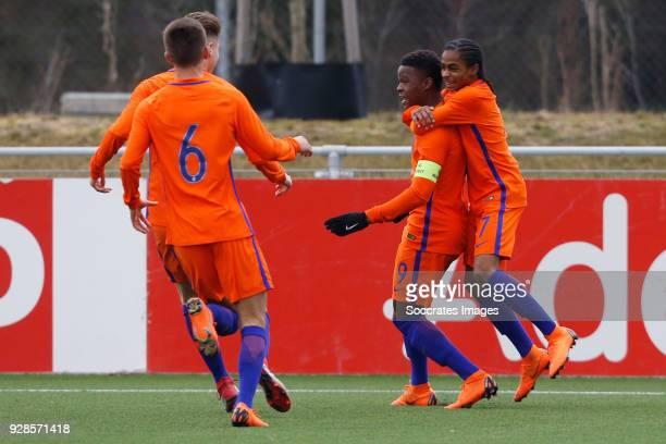 Daishawn Redan of Holland U17 celebrates 10 with Crysencio Summerville of Holland U17 Bram Franken of Holland U17 during the match between Holland...