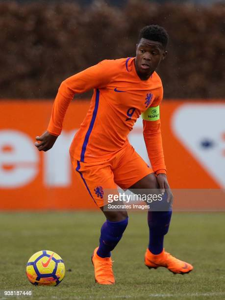 Daishawn Redan of Holland U17 during the match between Italy U17 v Holland U17 at the Sportpark Zuideinderpark on March 10 2018 in Schijndel...
