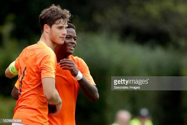 Daishawn Redan of Holland U19 celebrates 40 with Kik Pierie of Holland U19 during the match between Holland U19 v Czech Republic U19 at the Sportpark...