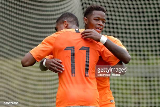 Daishawn Redan of Holland U19 celebrates 40 with Myron Boadu of Holland U19 during the match between Holland U19 v Czech Republic U19 at the...