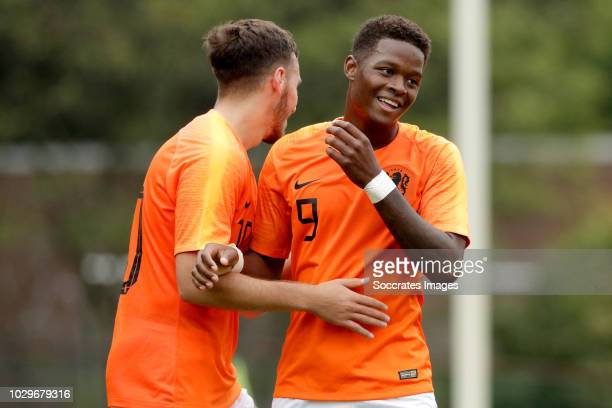 Daishawn Redan of Holland U19 celebrates 40 with Orkun Kokcu of Holland U19 during the match between Holland U19 v Czech Republic U19 at the...