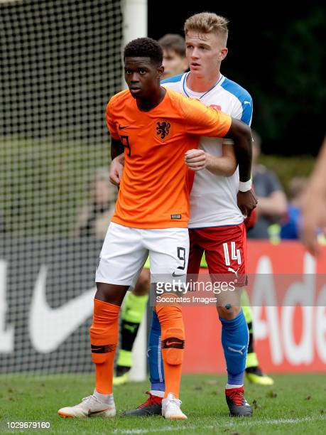 Daishawn Redan of Holland U19 David Machacek of Czech Republic U19 during the match between Holland U19 v Czech Republic U19 at the Sportpark...