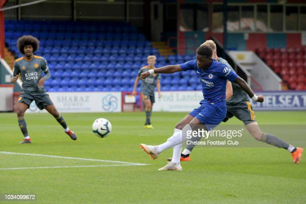 Daishawn Redan shoots for goal of Chelsea during the Chelsea v Leicester City Premier League 2 match at on September 16 2018 in Aldershot England