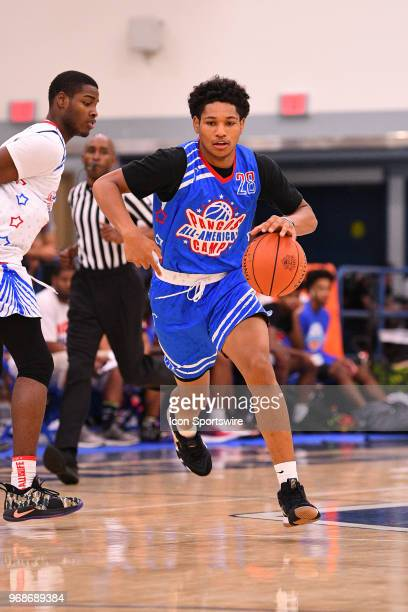 Daishen Nix from Trinity High School brings the ball up the court during the Pangos AllAmerican Camp on June 3 2018 at Cerritos College in Norwalk CA