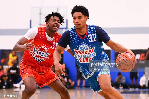 Daishen Nix from Trinity High School dives past Jaden Hardy from Coronodo High School the Pangos AllAmerican Camp on June 2 2019 at Cerritos College...