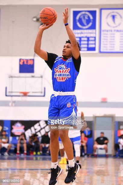 Daishen Nix from Trinity High School shoots a jump shot during the Pangos AllAmerican Camp on June 3 2018 at Cerritos College in Norwalk CA
